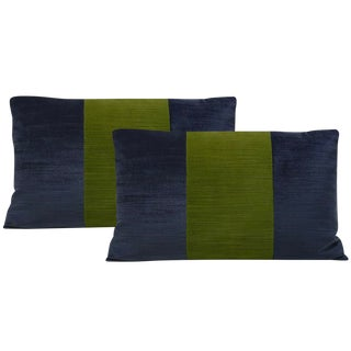 "12""x18"" Navy and Peridot Strie Velvet Lumbar Pillows - a Pair For Sale"