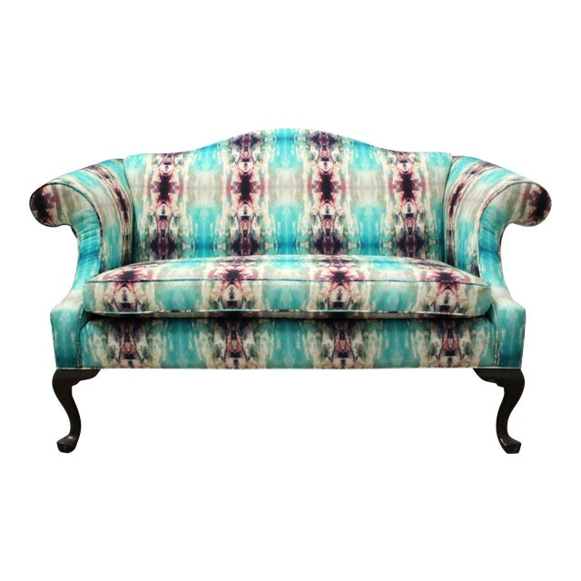 Turquoise Modern Custom Upholstered Boho Chic Love Seat For Sale - Image 8 of 8