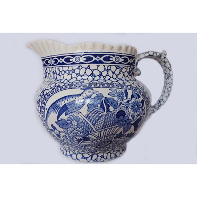 Blue 1930's Vintage William Adams Chinese Bird Pattern Bowl & Jug For Sale - Image 8 of 13