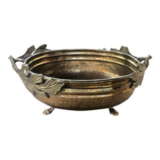 Footed Brass Cachepot Planter With Leaf Handles For Sale