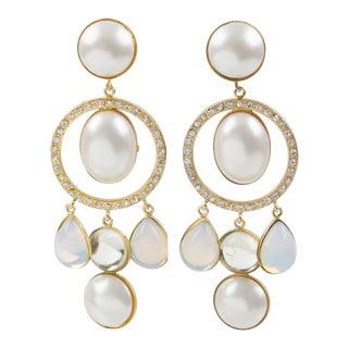 Zoe Coste Paris Signed Dangling Clip Earrings Gilt Metal White Glass Rhinestones For Sale
