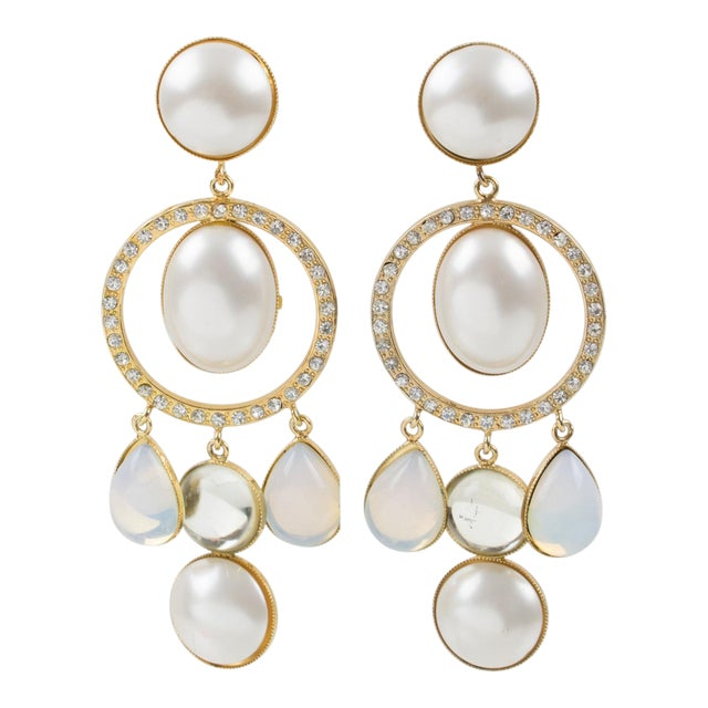 Zoe Coste Paris Signed Dangling Clip Earrings Gilt Metal White Glass Rhinestones For Sale
