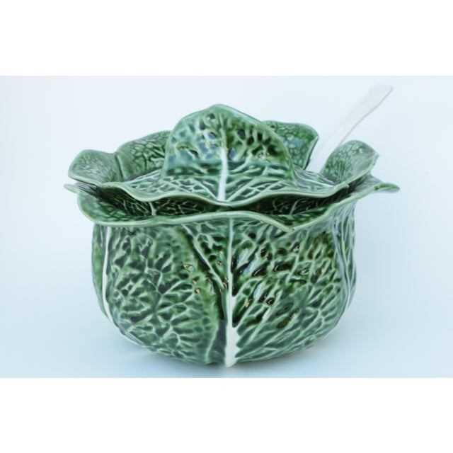 Secla Majolica Cabbage Covered Soup Tureen & Cabbage Ladle For Sale - Image 4 of 7