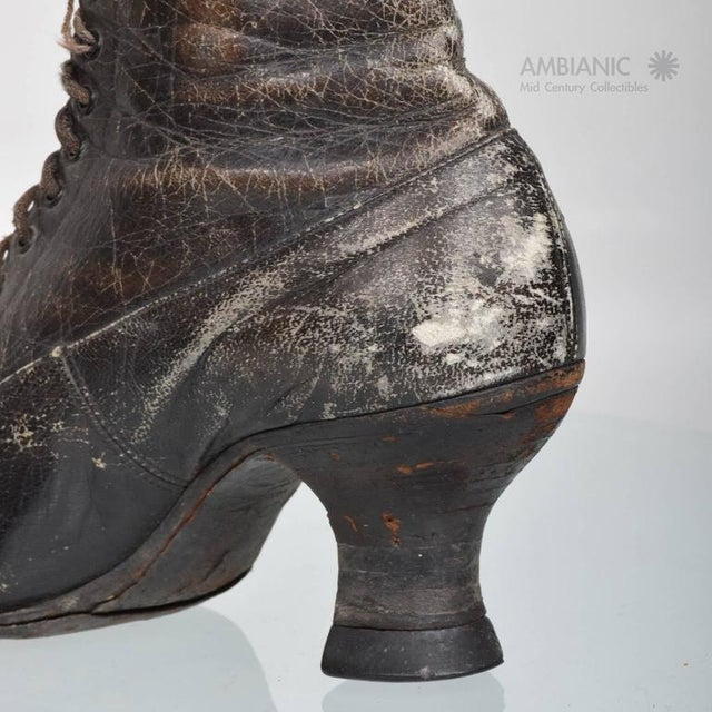 Pair of Ladies Victorian High-Top Leather Boots For Sale - Image 9 of 9