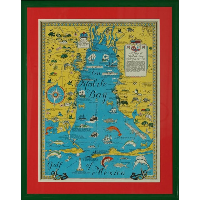 Vintage Map 'On Mobile Bay' by Marion Ackes - Image 1 of 6