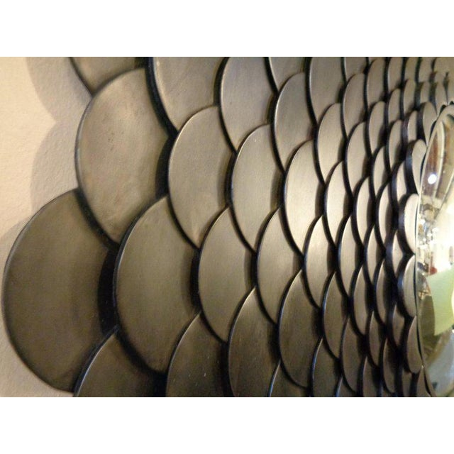 Palatial Modernist Steel Fish Scale Convex Wall or Console Mirror For Sale In New York - Image 6 of 10