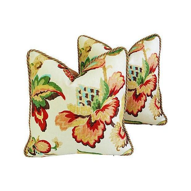 Designer Schumacher Kelmscott Manor Pillows - Pair - Image 1 of 7