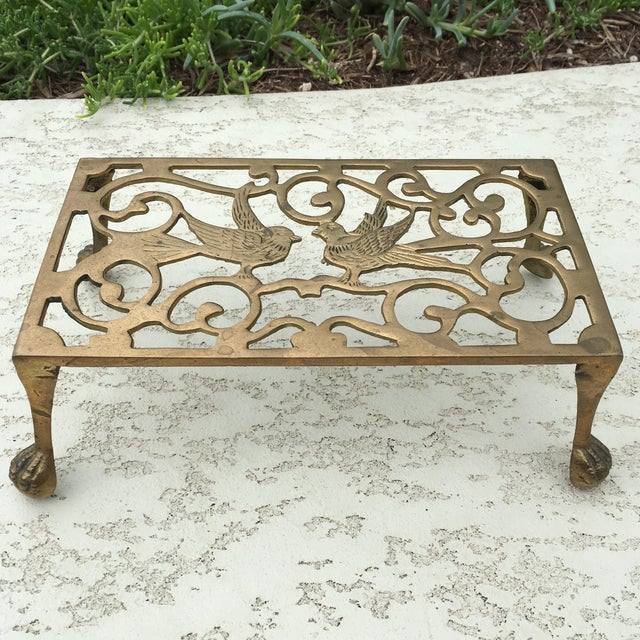 Mid-Century Solid Brass Bird Motif Plant Stand - Image 11 of 11