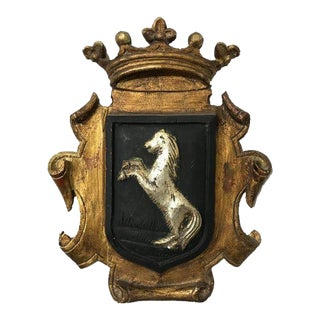Spanish Gold Wooden Horse Emblem Wall Accent