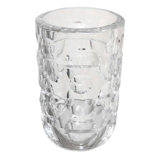 Signed Crystal Glass Vase By Orrefors For Sale