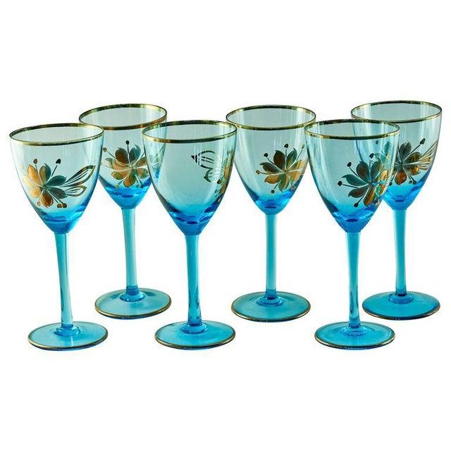 Sea Blue & Gold Leaf Decanter & Glassware Set - Image 2 of 10