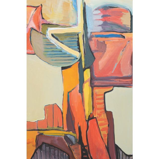 """Here is a stunning abstract painting by Malibu, CA artist - Fay Singer. Signed/dated 1989 and titled """"Monument."""" 48"""" x 36"""""""