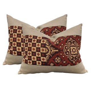Pair of Early 20th Century Indonesian Double Ikat Pillows For Sale