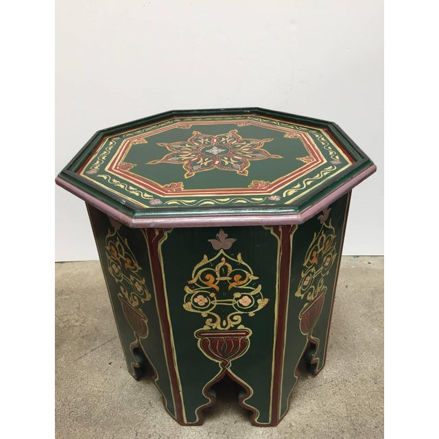 Green Moroccan Hand-Painted Table With Moorish Designs For Sale - Image 8 of 12