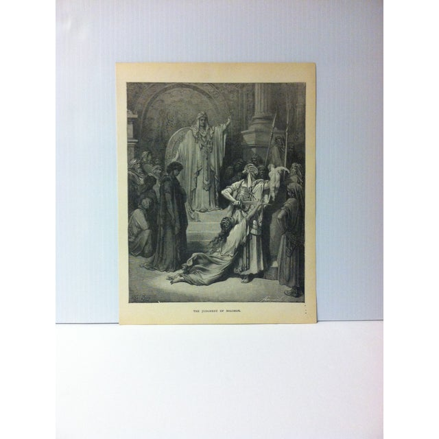 """Antique Gustave Dore Illustrated Print, """"The Judgement of Solomon"""", 1901 For Sale - Image 4 of 4"""