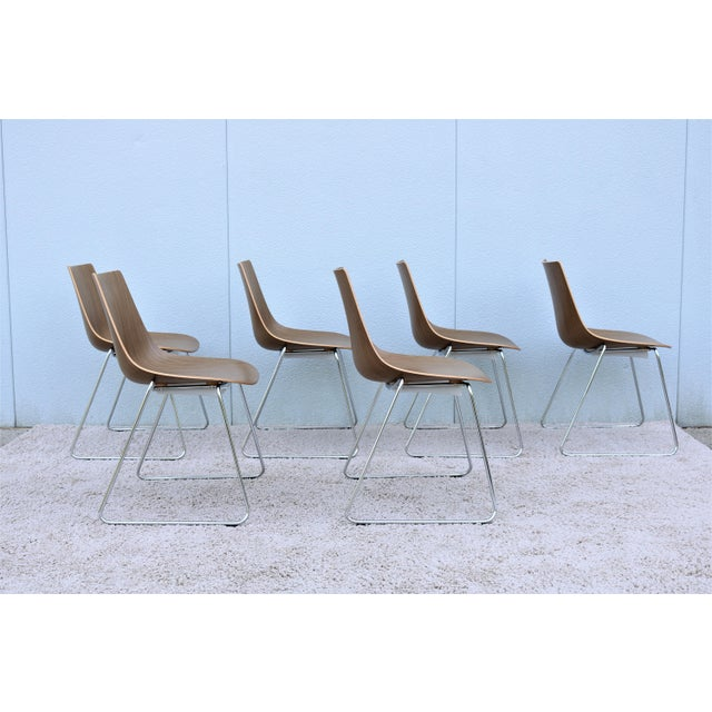 Metal Mid-Century Modern Style Allermuir Curve Dining or Stacking Side Chairs- Set of 6 For Sale - Image 7 of 13