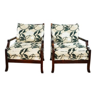 Embroidered Upholstered Armchairs - a Pair For Sale