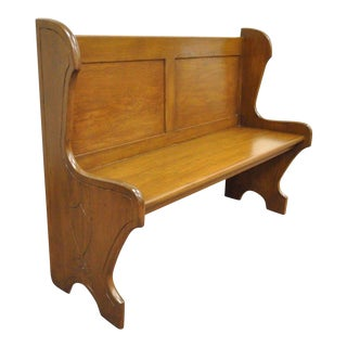 """48"""" Antique Solid Golden Pine Mission Arts & Crafts Bench Pew Chair Banquette"""