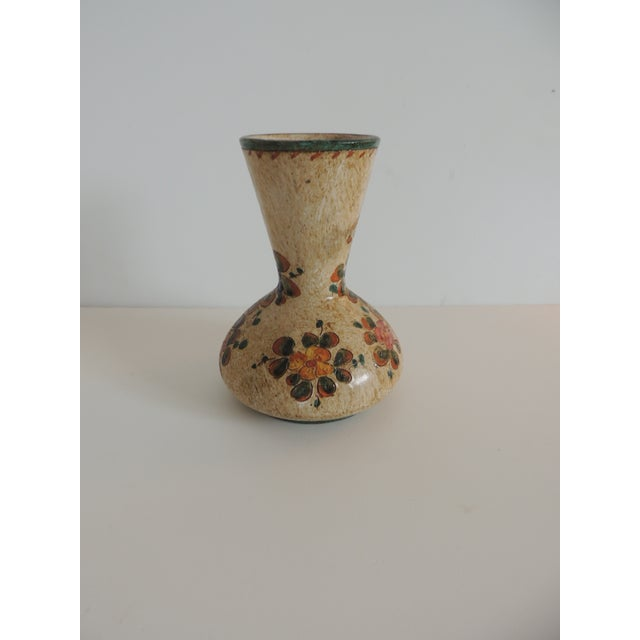 Boho Chic Small Floral Deruta Floral Painted Vase For Sale - Image 3 of 6
