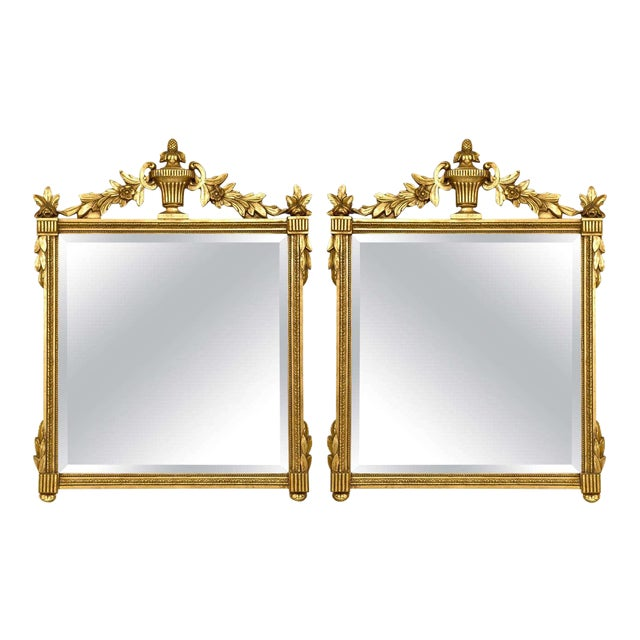 Neoclassical Style Giltwood Mirrors - A Pair For Sale