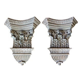 Antique Carved Pine Architectural Capitals - a Pair For Sale