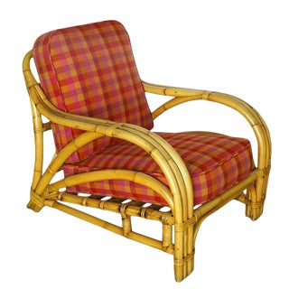 """1950s Three Strand """"1940s Transition"""" Rattan Lounge Chair For Sale"""