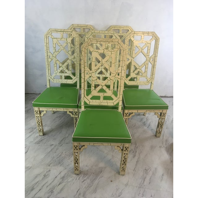 Wood Palm Beach Style Chinoiserie Dining Chairs, Set of Six For Sale - Image 7 of 12
