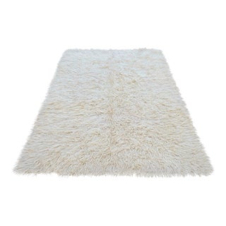 Turkish Hand-Knotted Shaggy Area Rug Tulu Rug No Dyes - 4′11″ × 6′8″ For Sale