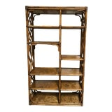 Image of Boho Chic Bamboo Rattan Style Etagere Shelving Unit For Sale