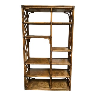 Boho Chic Bamboo Rattan Style Etagere Shelving Unit For Sale