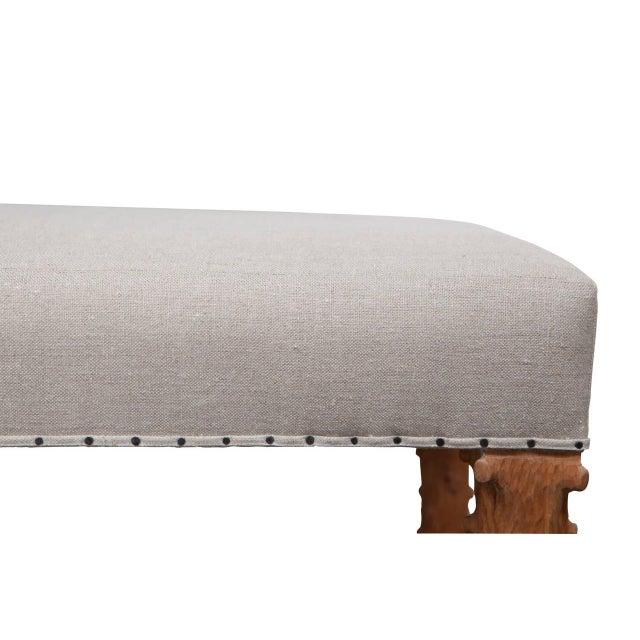 JW Custom Line Carved Leg Bench For Sale - Image 4 of 5