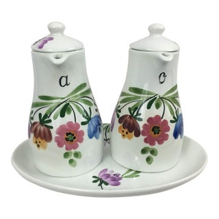 Richard Ginori Italian Hand-Painted Ceramic Oil and Vinegar Set For Sale