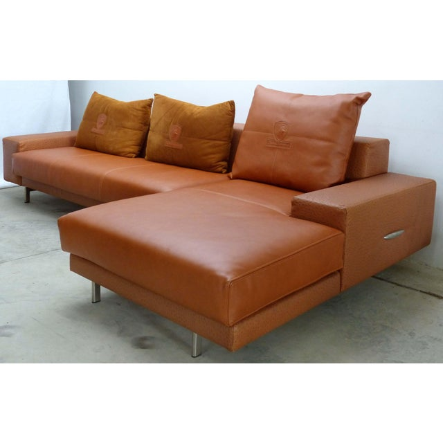 Casa Tonino Lamborghini Pilot Collection Sofa in Leather, Ostrich & Suede For Sale - Image 13 of 13