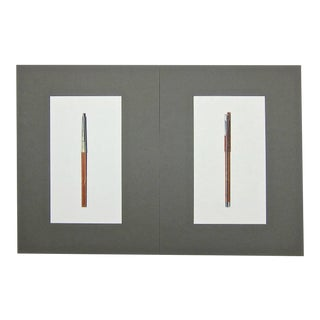 Contemporary Original Jerome Gould Mixed-Media Design Drawings for Writing Instruments - a Pair For Sale