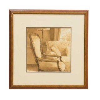 Vintage Mid-Century French Armchair Watercolor Painting For Sale