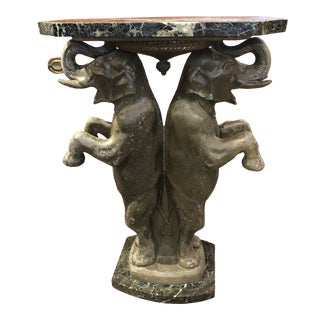 1930s Vintage French Art Deco Marble Top Elephant Table For Sale