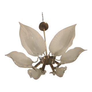 Murano Glass & Brass Chandelier Leaf For Sale