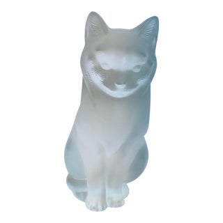 Lalique Frosted Glass Cat For Sale