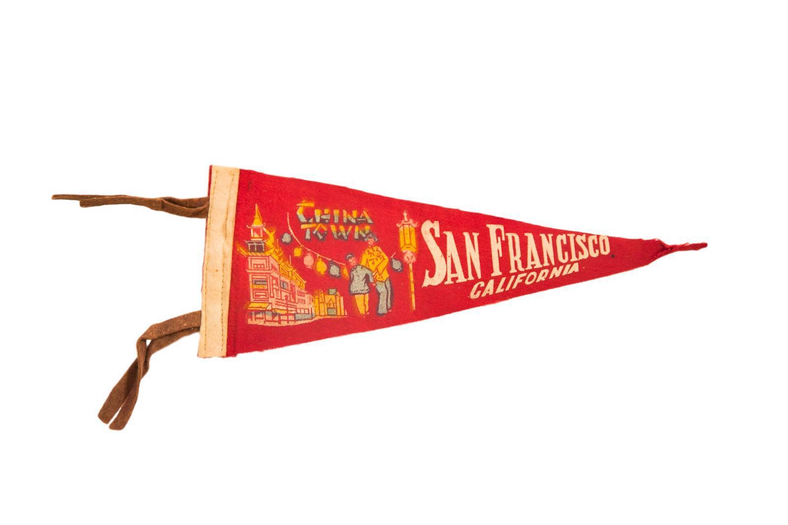 Charming Vintage San Francisco California China Town Felt Flag Pennant   Image 4 Of 4