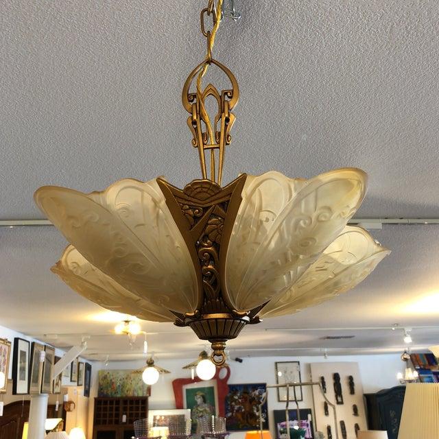 2010s Rejuvenation Nicolai Art Deco Chandelier For Sale - Image 5 of 13