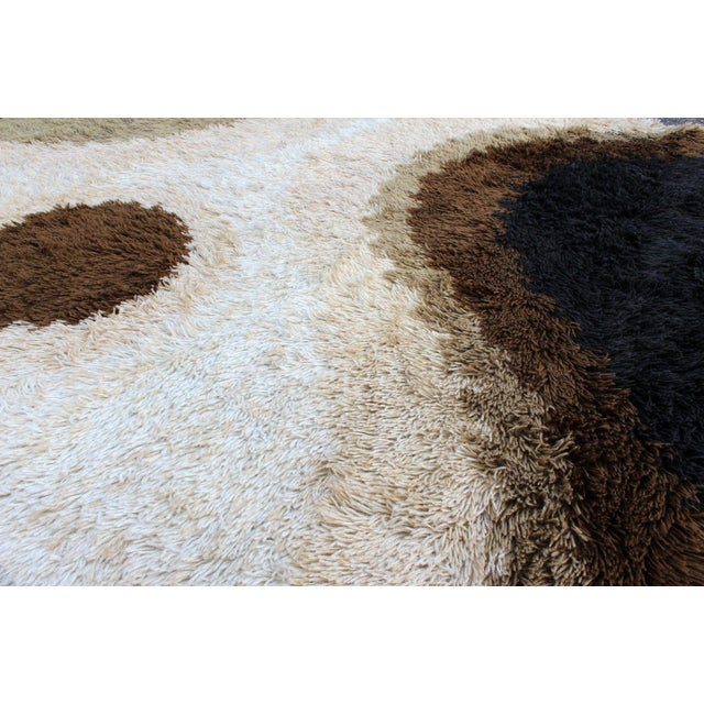 1960s Mid Century Modern Large Shag Rya Wool Area Rug Carpet Black Brown Beige 60s 70s For Sale - Image 5 of 7