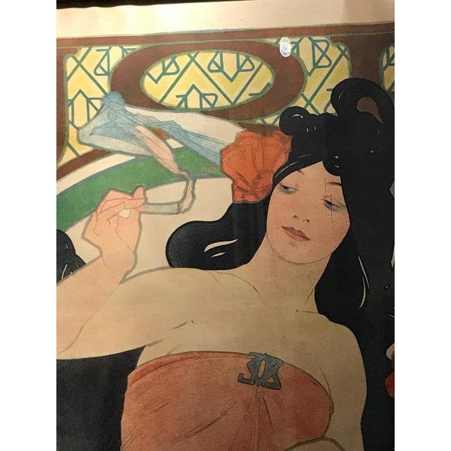 Red Art Nouveau Alphonse Mucha Original Job Poster, 1898 For Sale - Image 8 of 13