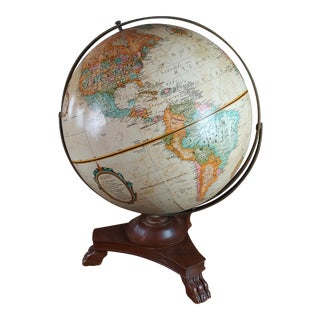 Vintage Globe With Carved Wooden Claw Feet Stand For Sale
