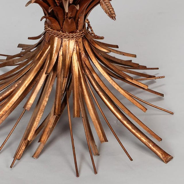 1940s Mid Century Gilded Metal Wheat Sheaf Table For Sale - Image 5 of 9