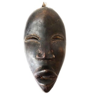 "Dan Mask Deangle with Elongated Face Liberia Africa 9"" H For Sale"