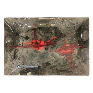 Modernist Back Painted Glass Tray Attributed to Dube For Sale
