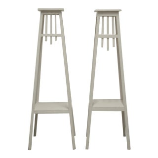 1950s Rustic White Painted Plant Stands - a Pair For Sale