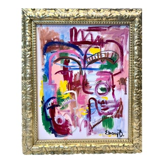 Contemporary Abstract Face Painting by Ebony Boyd, Framed For Sale