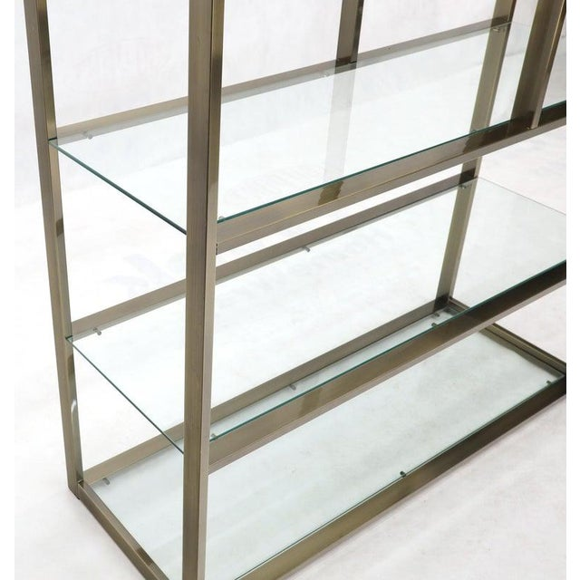 Silver Brass and Glass Lighted Étagère Vitrine For Sale - Image 8 of 13