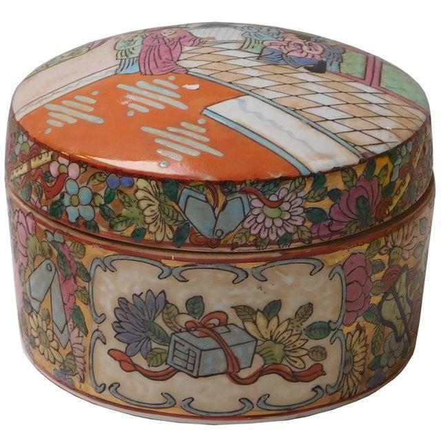 Oriental Porcelain Scenery Box - Image 1 of 6